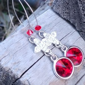 Red Swarovski crystal rivoli earrings
